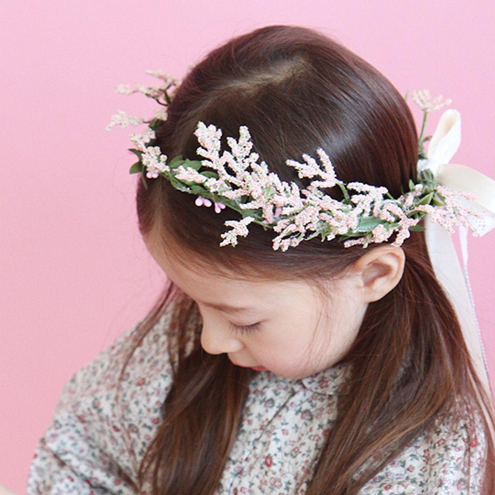 韓國 Babyblee - 香草綁帶花圈-粉紅