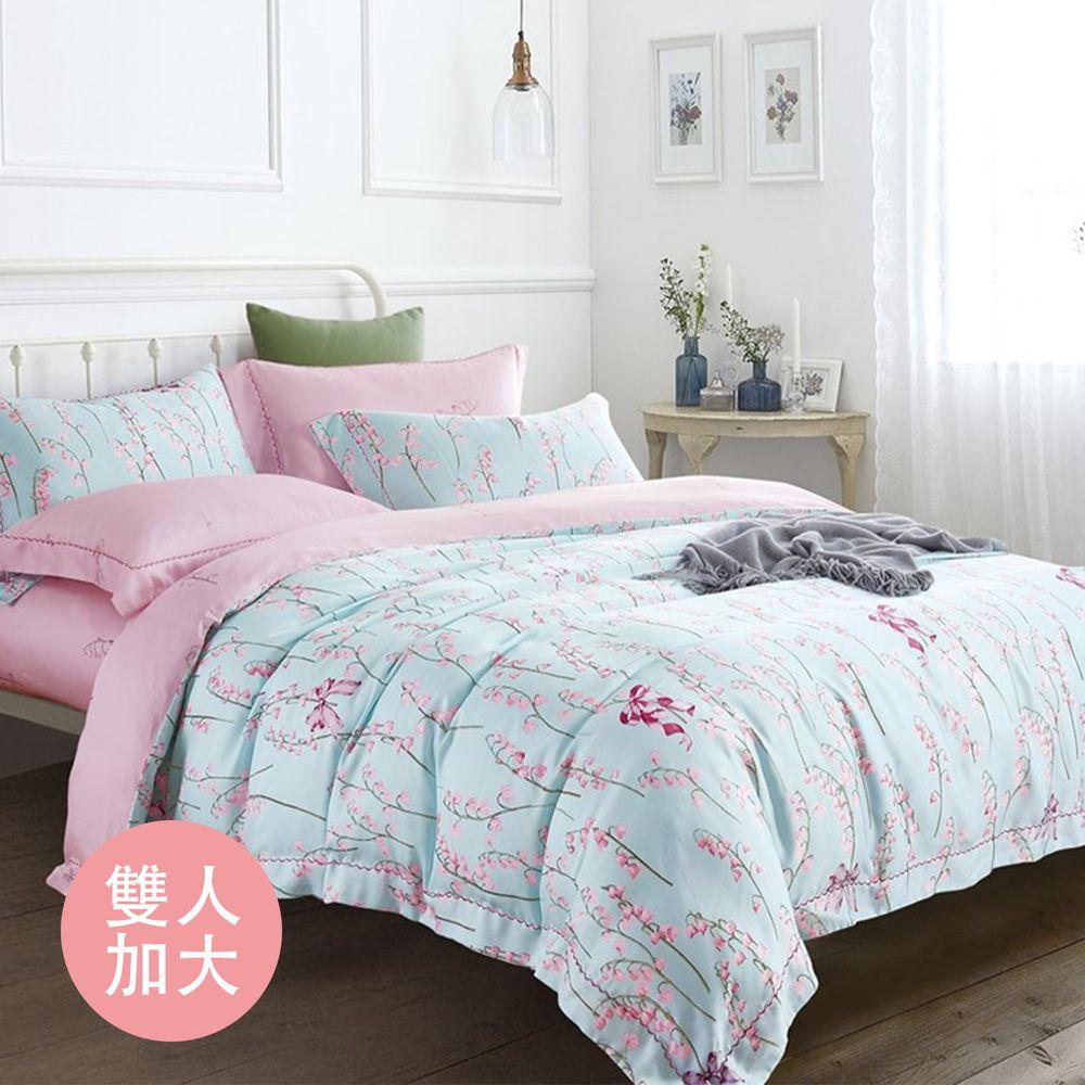 飛航模飾 - 裸睡天絲加高版床包組-嫻花(加大雙人床包兩用被四件組) (加大雙人6*6.2尺)