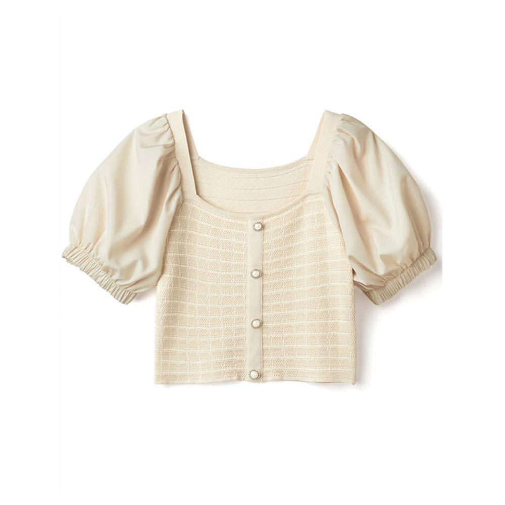 日本 GRL - 異材質拼接小網格針織排扣U領短袖上衣-氣質杏