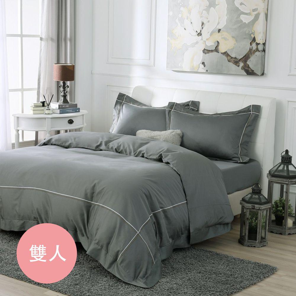 鴻宇HONGYEW - 經典奢華60織300條純色刺繡雙人床包組-氣質灰-灰-5X6.2