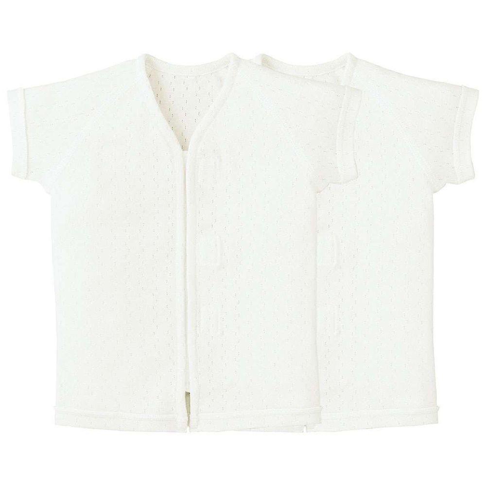 日本 Combi - mini系列-純棉肚衣(黏貼式)-白色*2 (60-70)