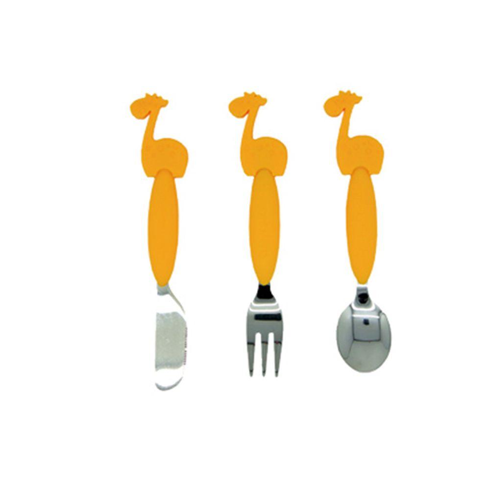 MARCUS&MARCUS - 動物樂園不銹鋼刀叉匙三件組-黃長頸鹿