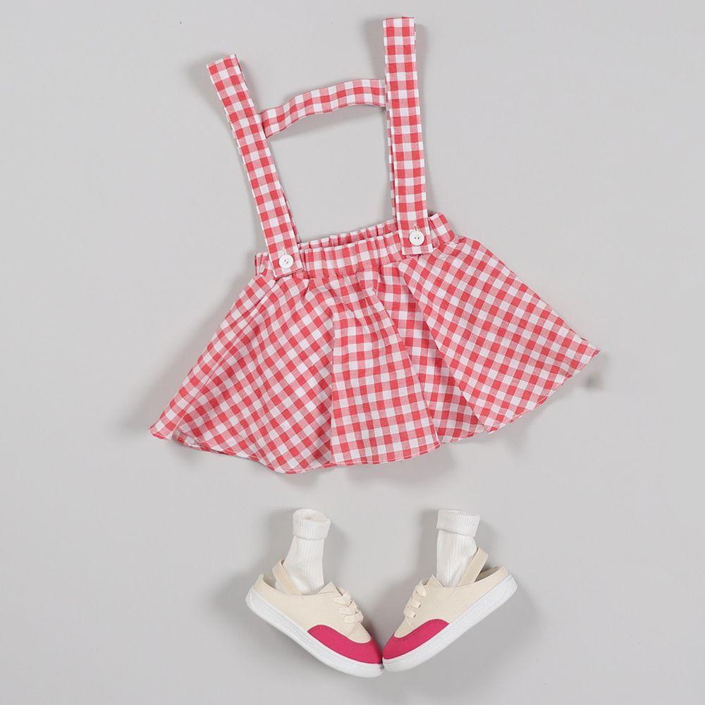 韓國 First Blue - (剩5,7號)格子吊帶褲裙-紅