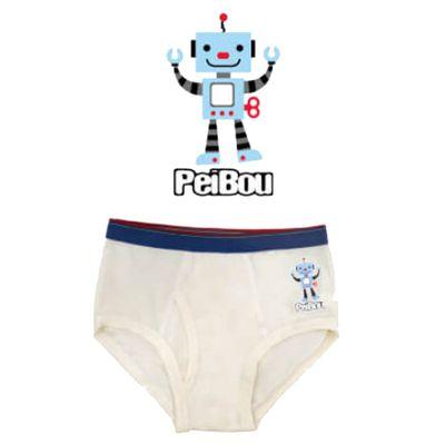 天絲棉舒膚平衡童男三角褲-機器人-白色