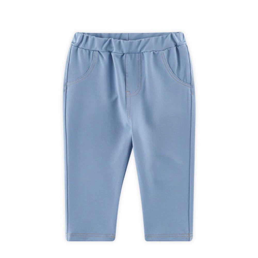 韓國 WALTON kids - 縫線鬆緊褲頭彈力褲-藍