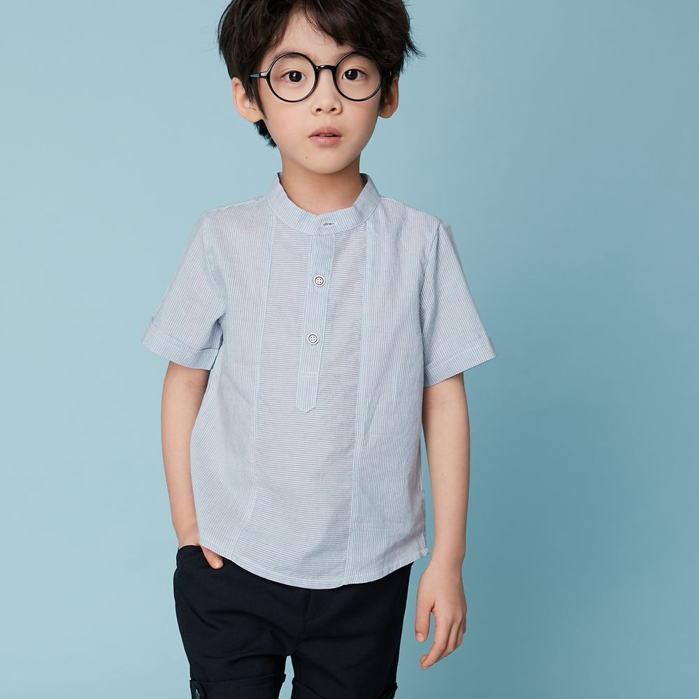 韓國 Coco Bang - 輕薄透氣開襟襯衫-灰