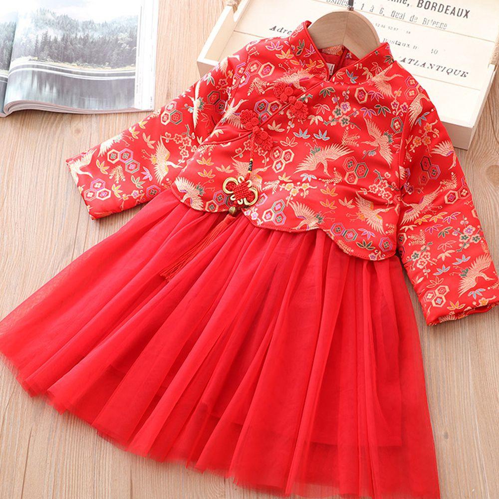 仙鶴迎春旗袍紗裙