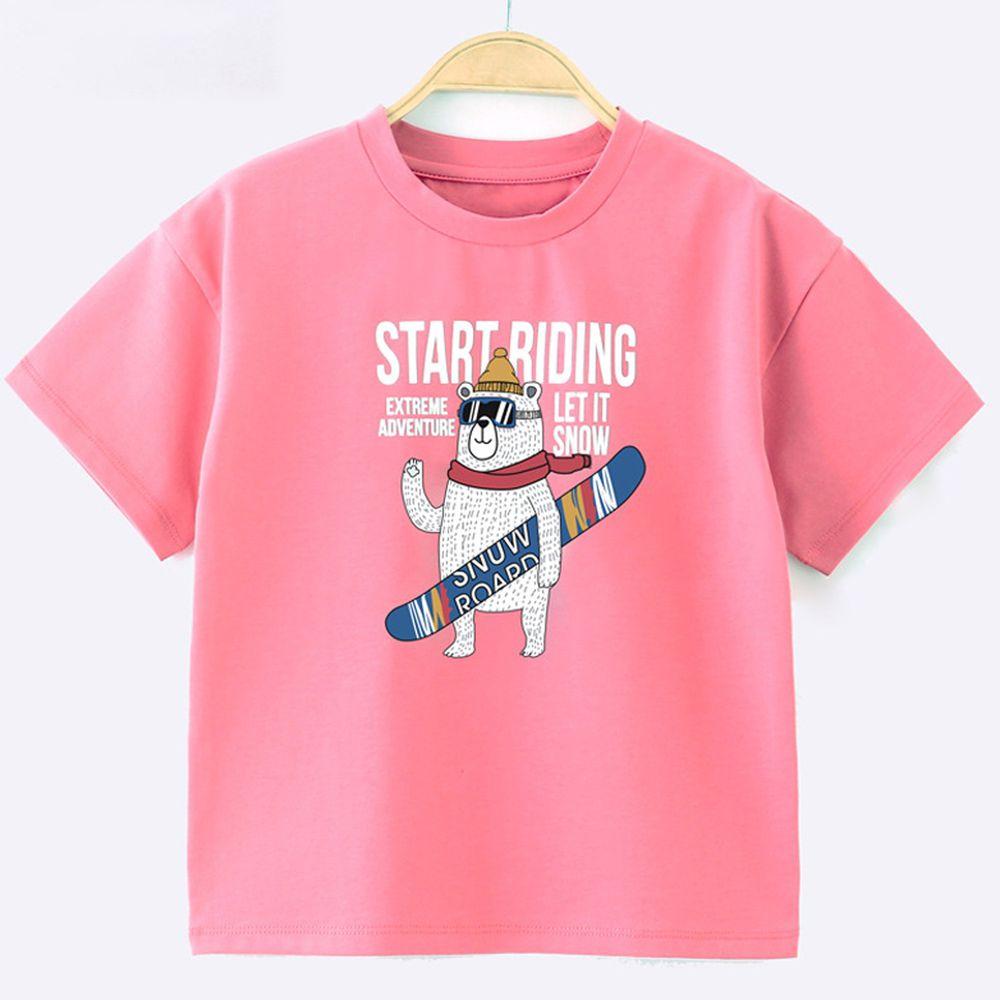 FitUrBabe - 彈力棉質短袖上衣-滑雪熊-暗粉色