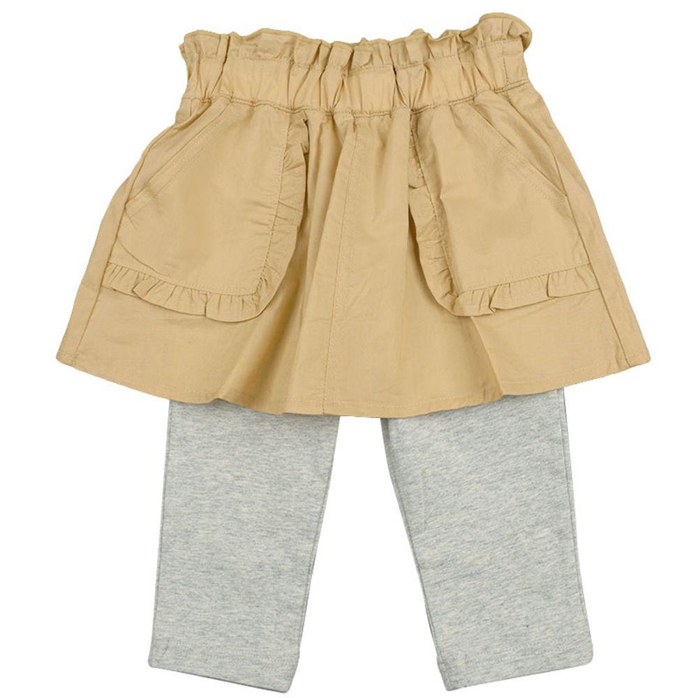 akachan honpo - 7分平織假兩件內搭裙褲-淺卡其色