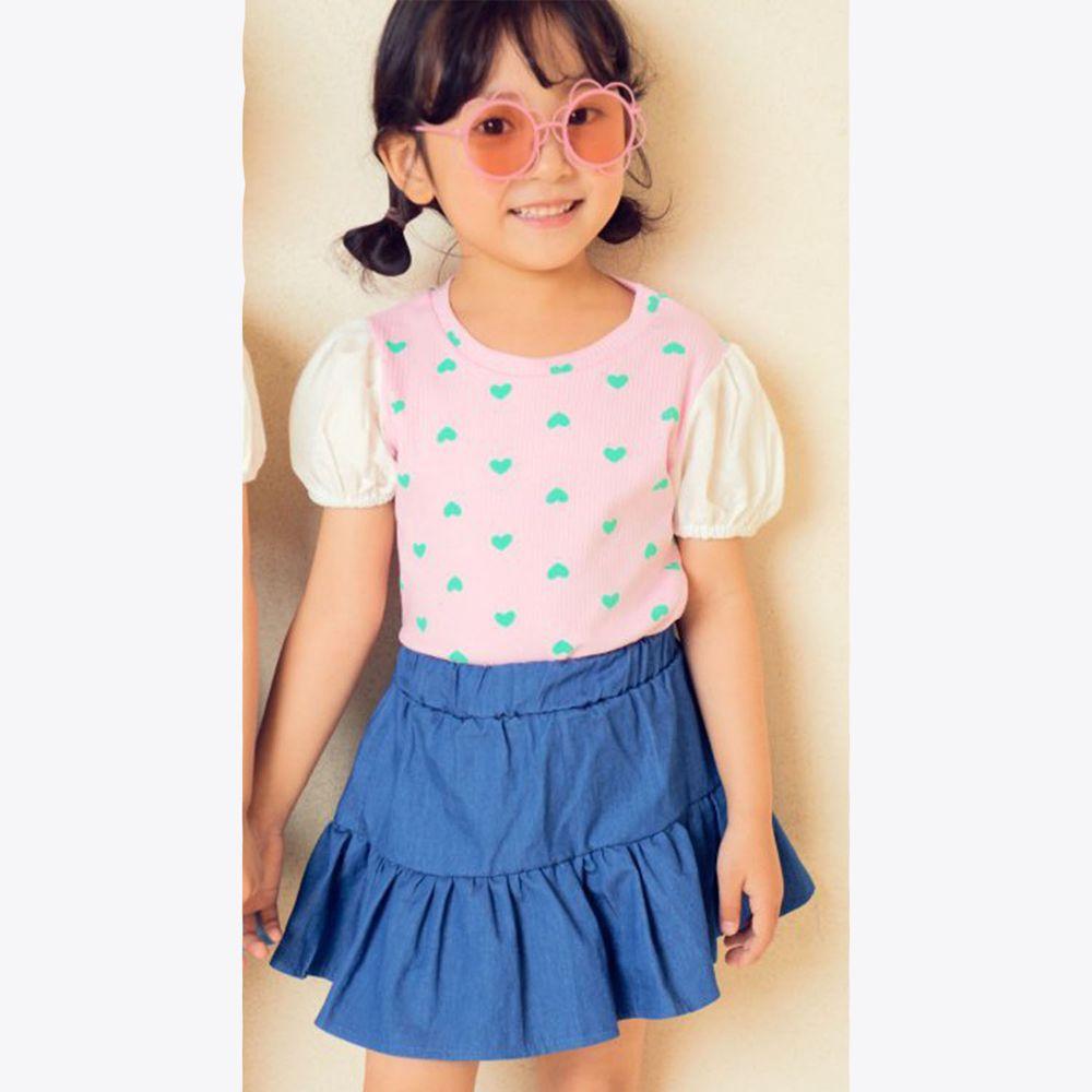 韓國 Hanab - 滿版愛心泡泡袖T-粉紅