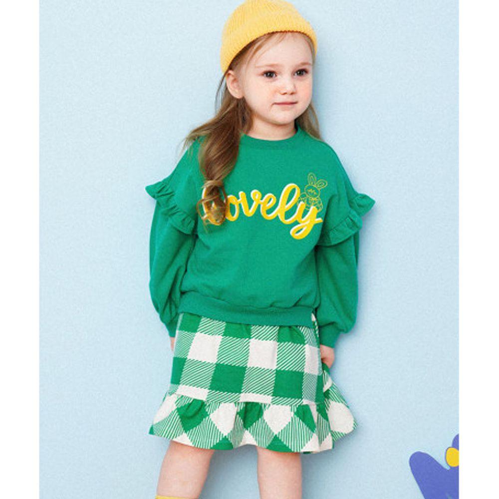 韓國 HEJMINI - 假兩件荷葉裝飾袖格子洋裝-綠