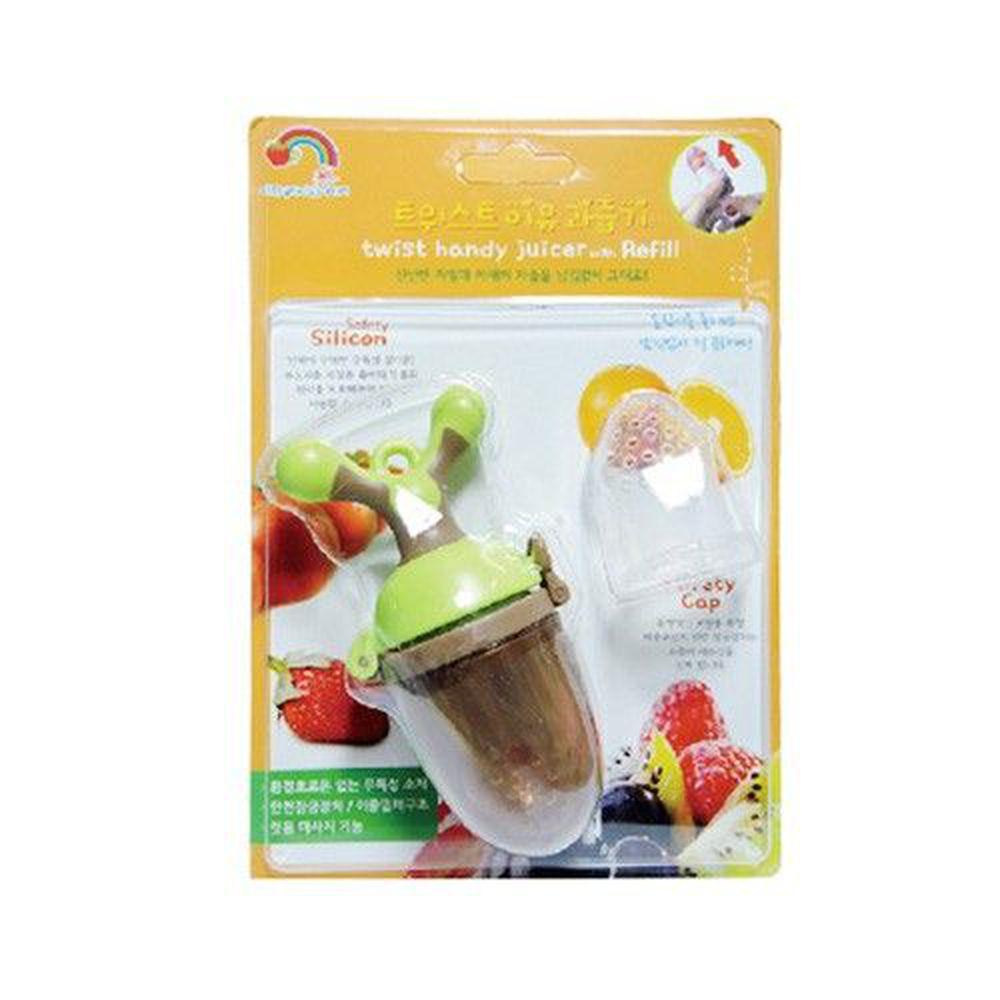 韓國 Pomier 朴蜜兒 - 旋轉水果棒-棕綠-6個月以上 (附矽膠替換嘴配件x1)