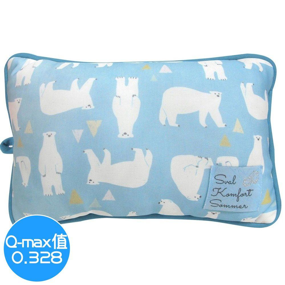 日本 DAIKAI - 接觸涼感小枕頭/午睡枕-北極熊-水藍 (30x20cm)