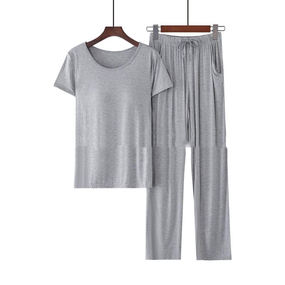 莫代爾柔軟涼感Bra T家居服-長褲套裝-淺灰色