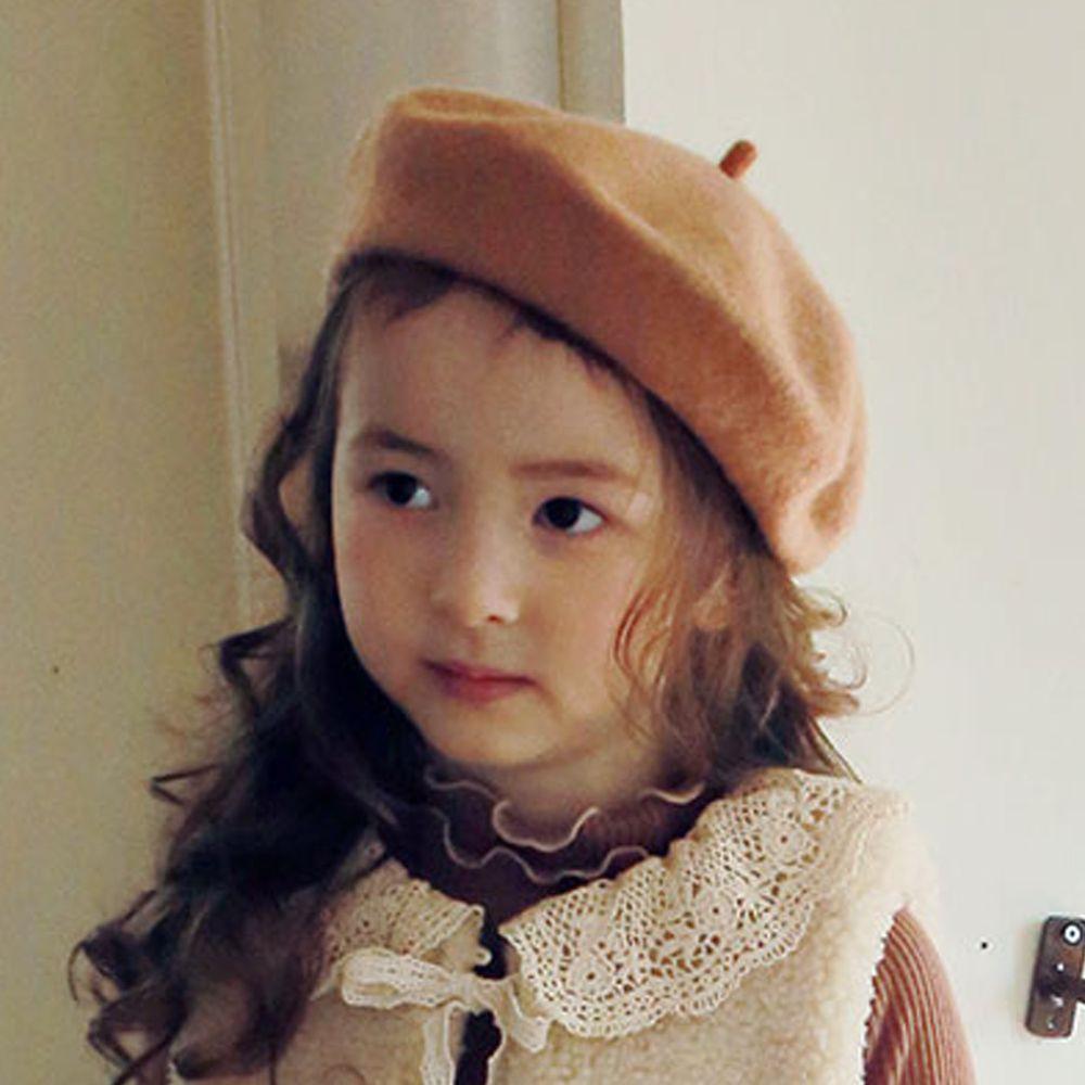 韓國 PuellaFLO - 素色貝蕾帽-杏