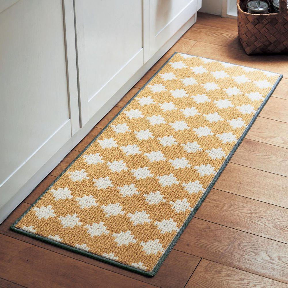 日本千趣會 - 日本製 長毛舒適腳踏墊(廚房/臥室)-幾何圖紋-黃色系