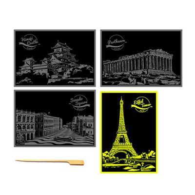 手刮城市金色夜景明信片組-Ver.2:姬路城、雅典神殿、澳門廣場、巴㴝鐵塔