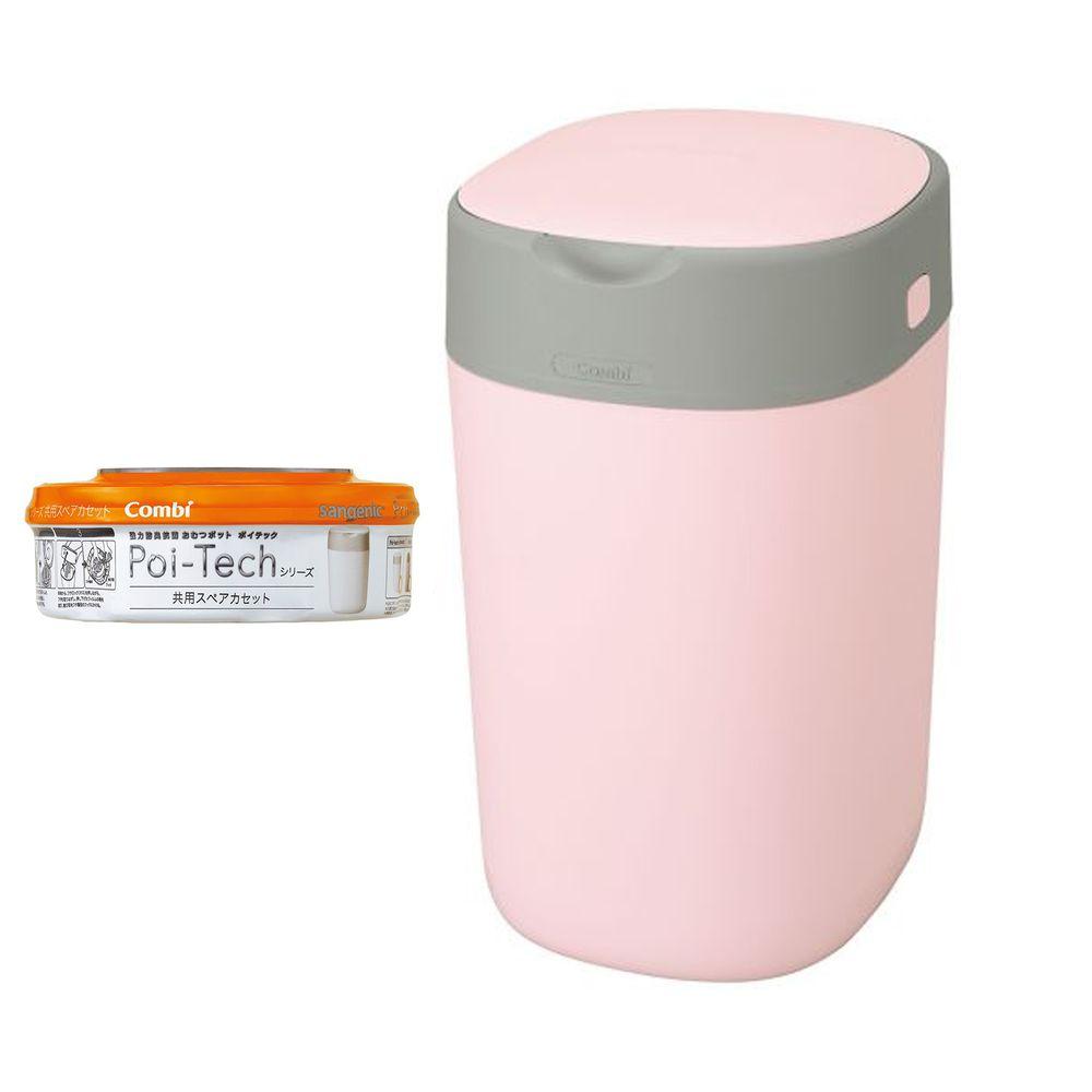 日本 Combi - Poi-Tech Advance 尿布處理器+膠捲1入-玫瑰粉