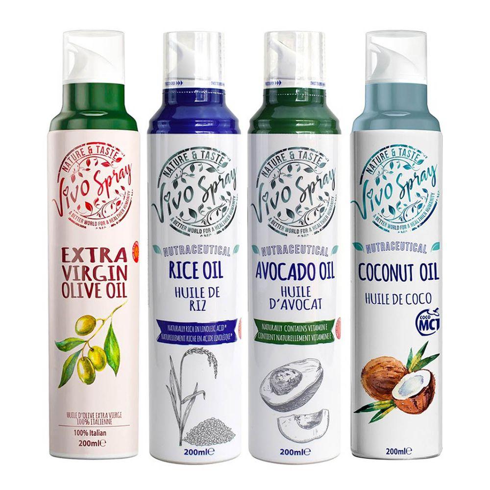 義大利VIVO - 原裝進口噴霧油3入組(橄欖、玄米、酪梨、椰子油 4選3)-口味請在訂單備註寫明 (200mlx3入)