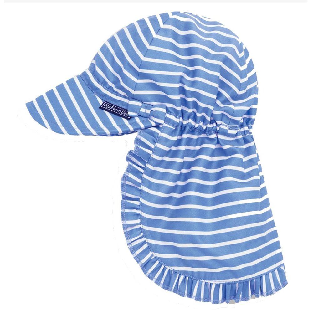 英國 JoJo Maman BeBe - 嬰幼兒/兒童UPF50+防曬護頸遮陽帽-藍白條紋
