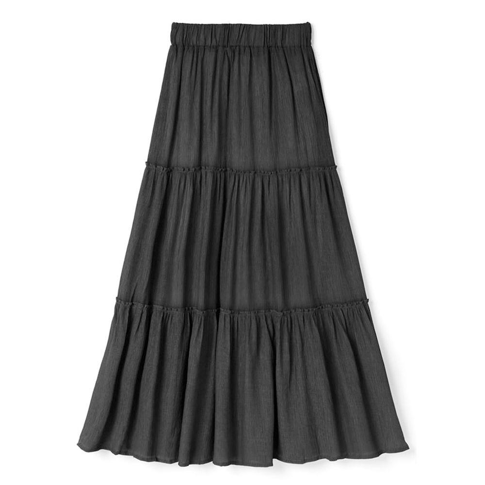 日本 GRL - 浪漫三層蛋糕長裙-時尚黑