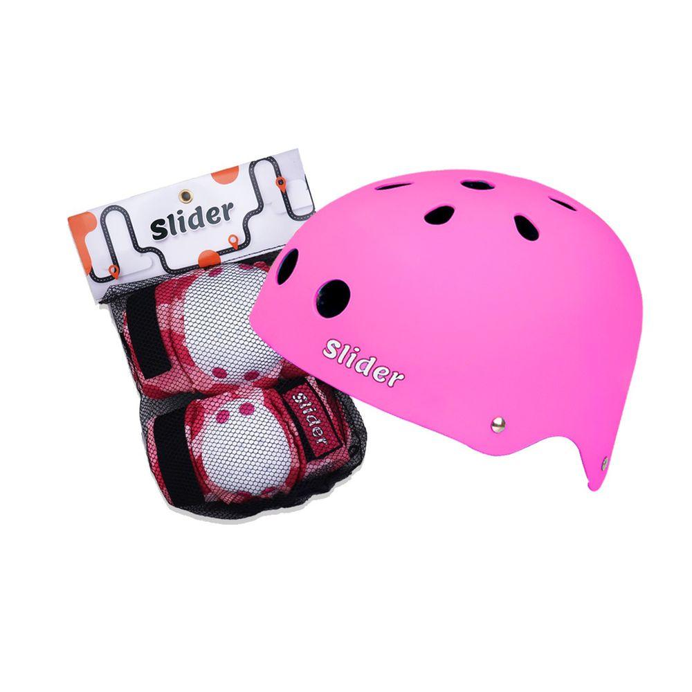 Slider 滑來滑趣 - 全套裝備護具組(頭盔+護肘+護膝)-粉色 (2-5歲)