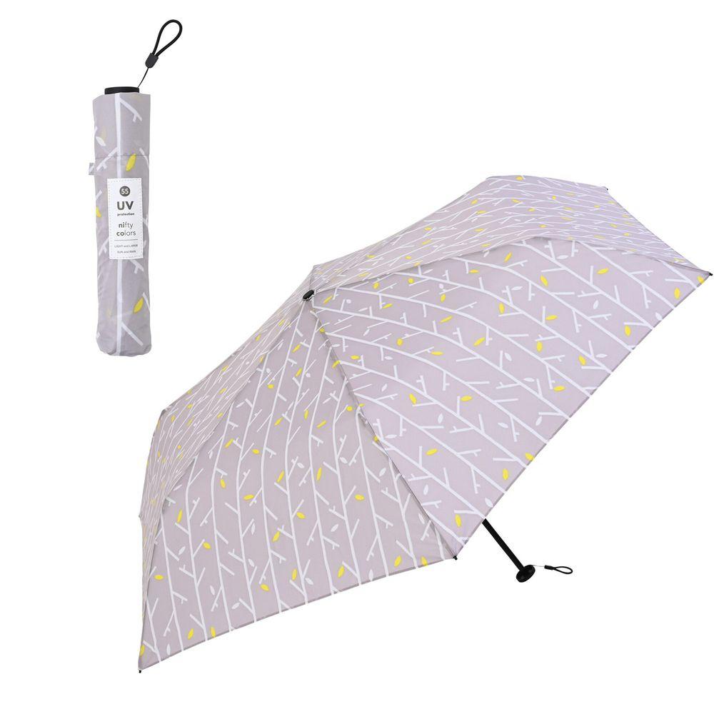 日本 nifty colors - 抗UV輕量 晴雨兩用折疊傘-春意枝枒-淺灰 (直徑98cm/131g)-93.6%