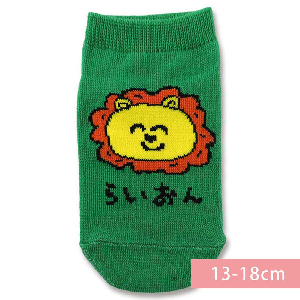 日本 OKUTANI - 童趣日文插畫短襪-獅子-綠 (13-18cm(3-6y))