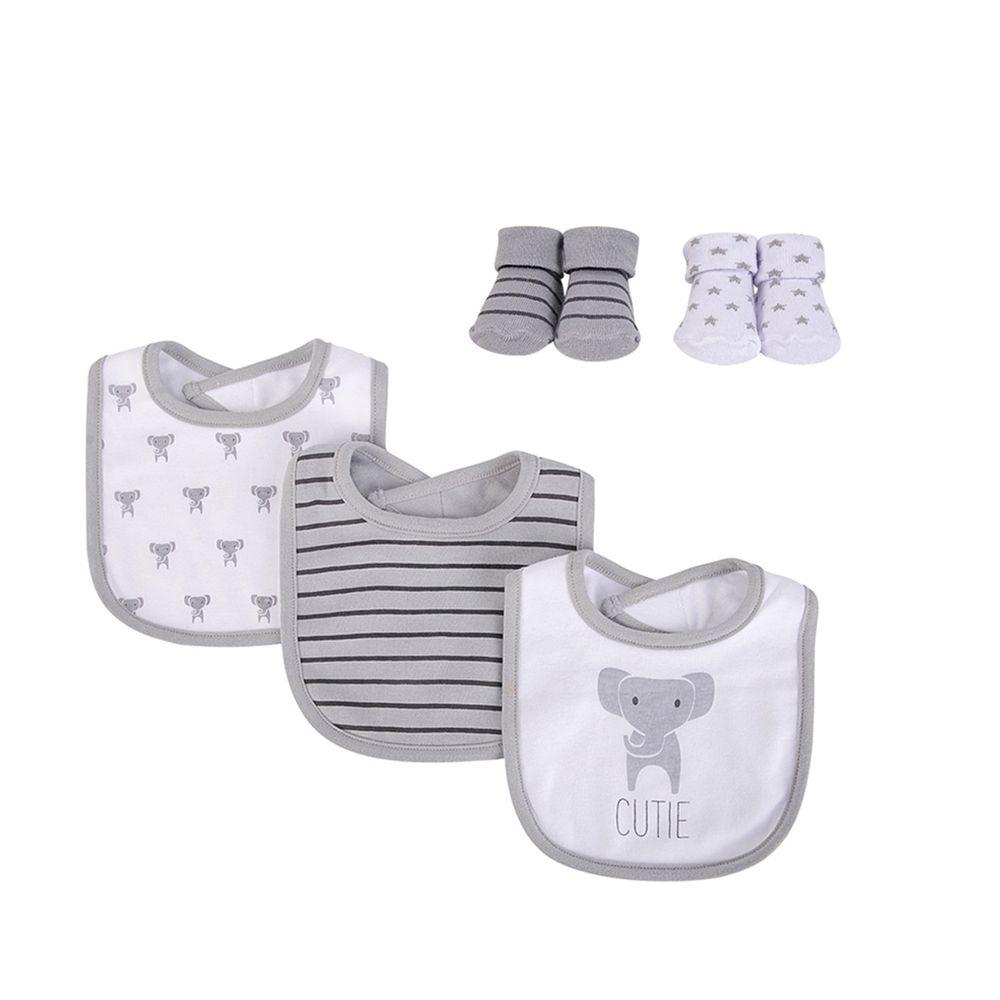 美國 Luvable Friends - 嬰幼兒雙層吸水口水巾圍兜與短襪組-灰色大象