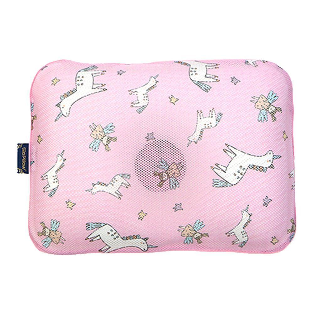 韓國 GIO Pillow - 超透氣護頭型嬰兒枕/防扁頭枕/防蟎枕-單枕套組-夢幻小馬 - S/M