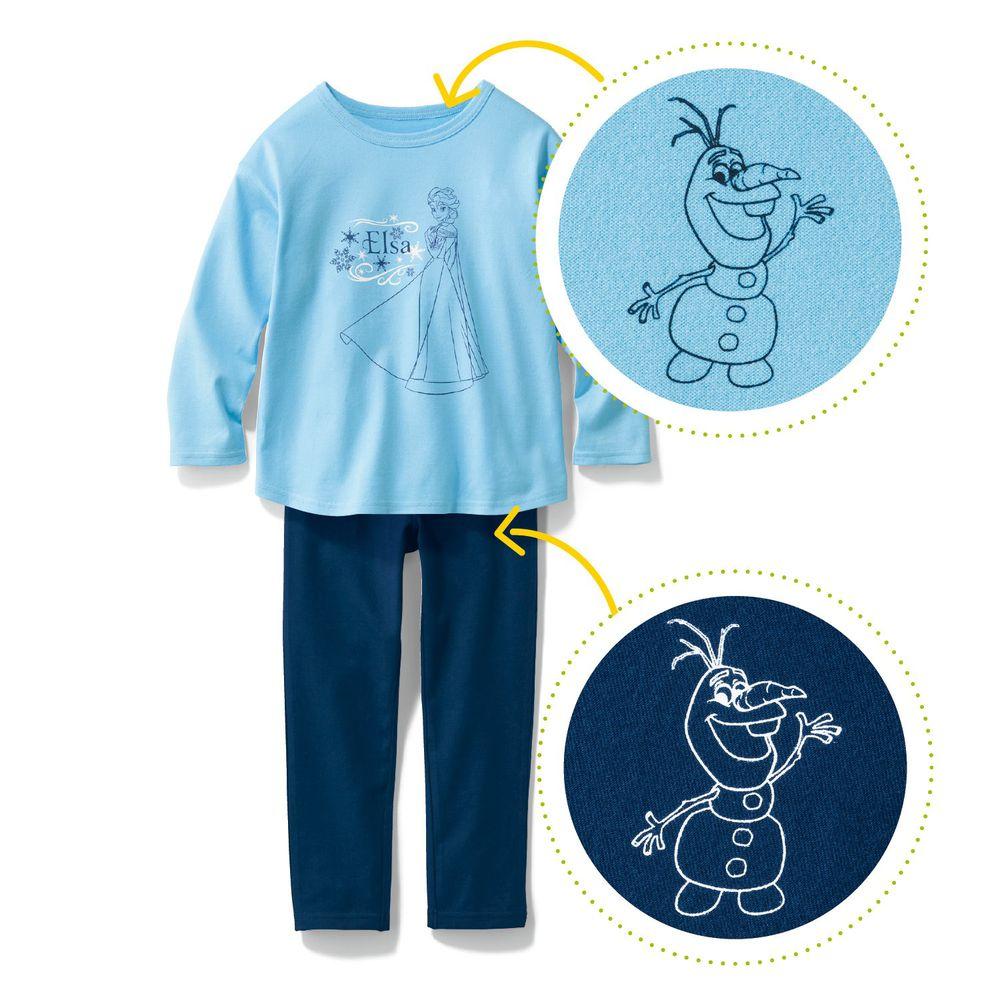 日本千趣會 - 迪士尼百搭長袖套裝-艾莎-水藍