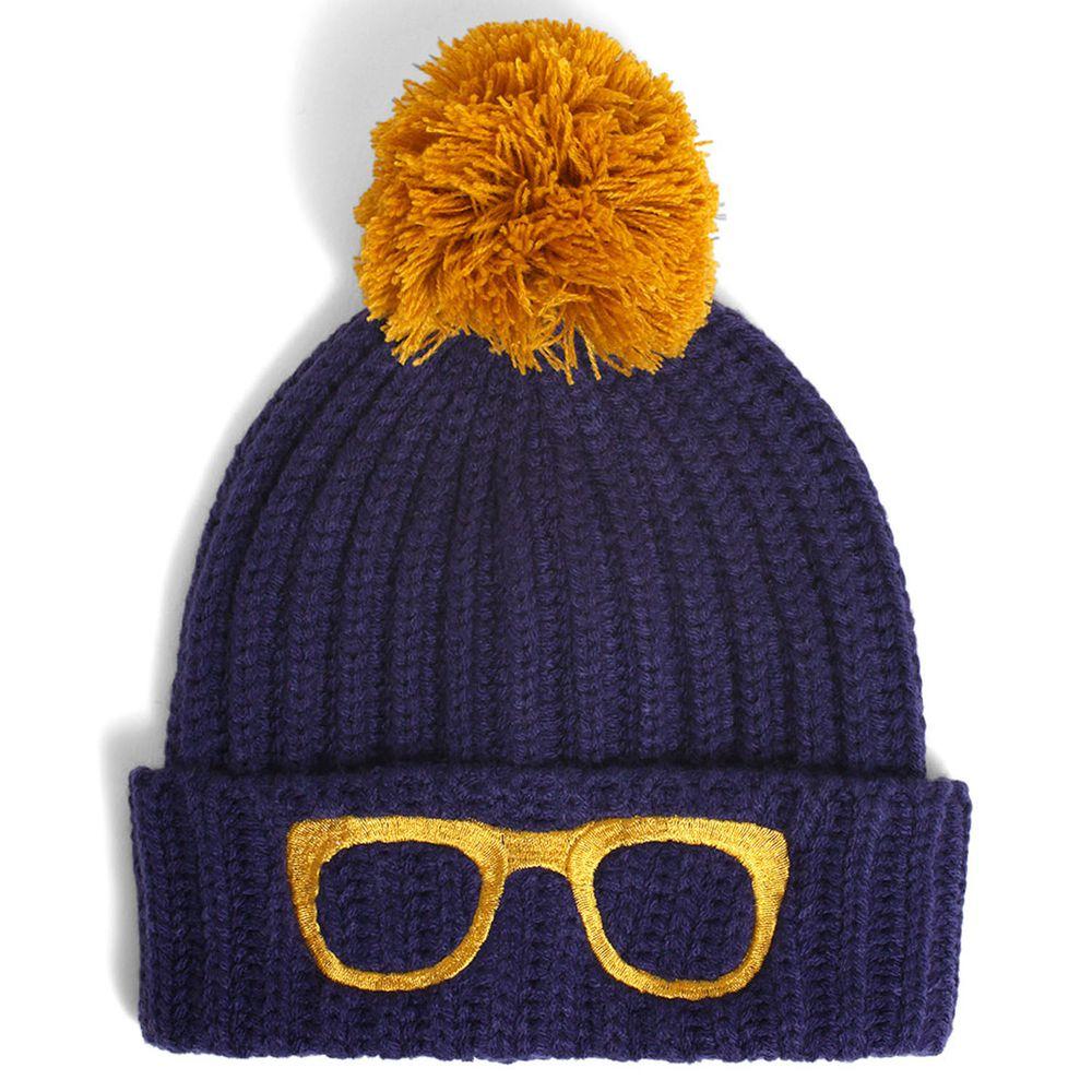 日本 GRIN BUDDY - 眼鏡刺繡大球球毛帽-深藍 (53cm)
