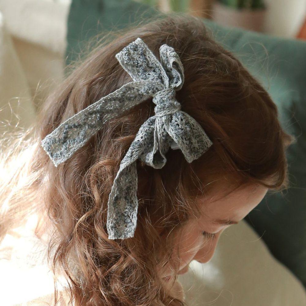 韓國 PuellaFLO - 雕花蕾絲蝴蝶結髮飾/髮夾-藍