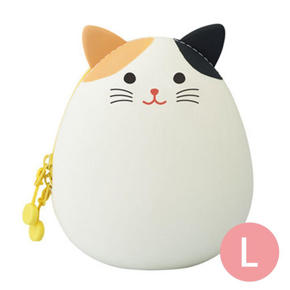 日本文具 LIHIT - 圓筒式胖胖收納包-小花貓 (L(14x12x9.6cm))