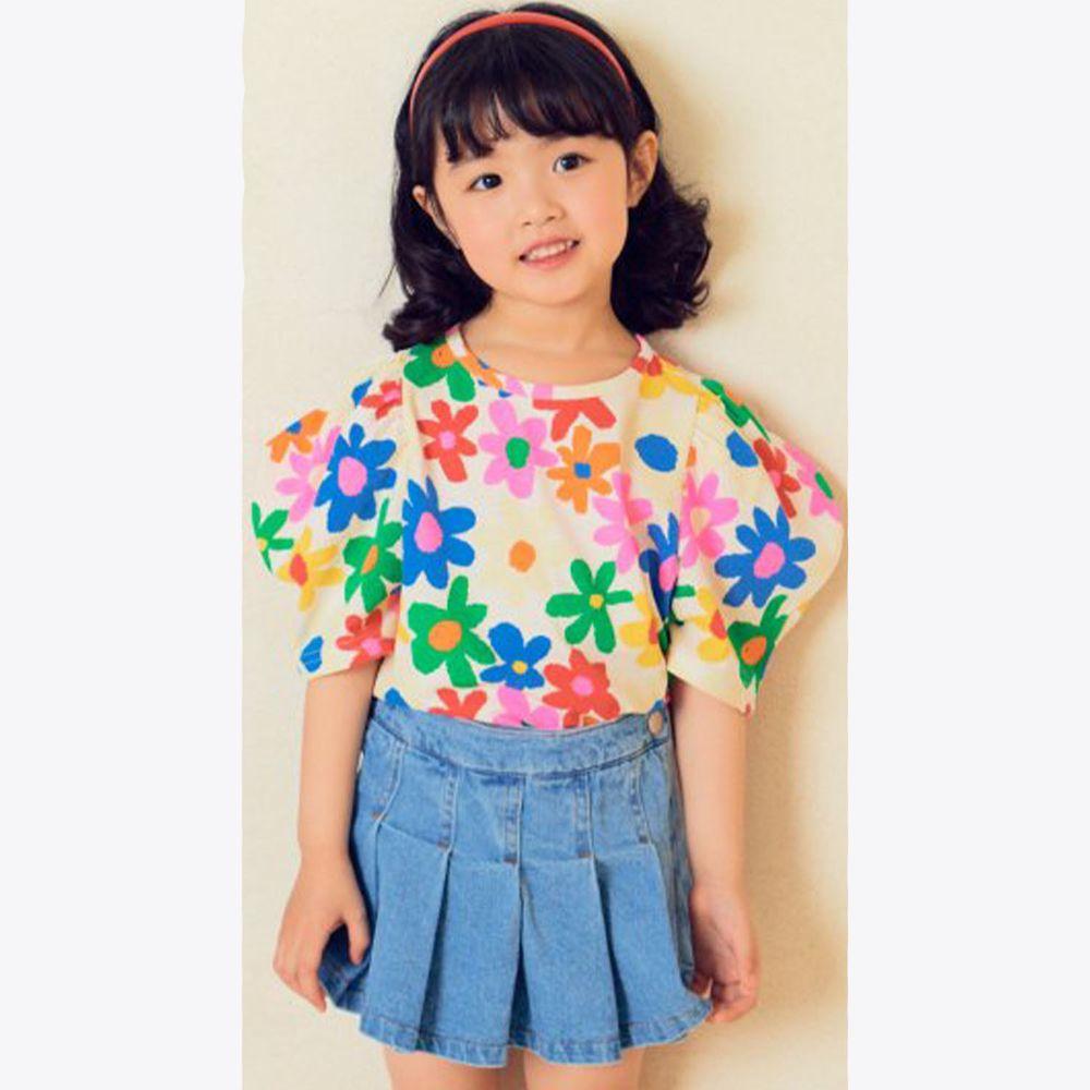 韓國 Hanab - 滿版彩色花朵泡泡袖T-白