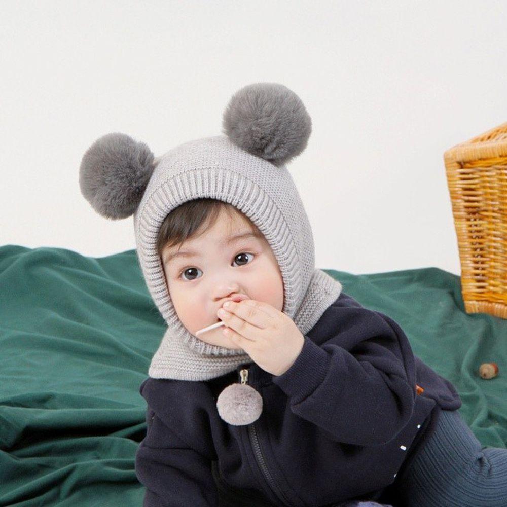 韓國 Babyblee - 大球球遮脖保暖帽-灰 (FREE)