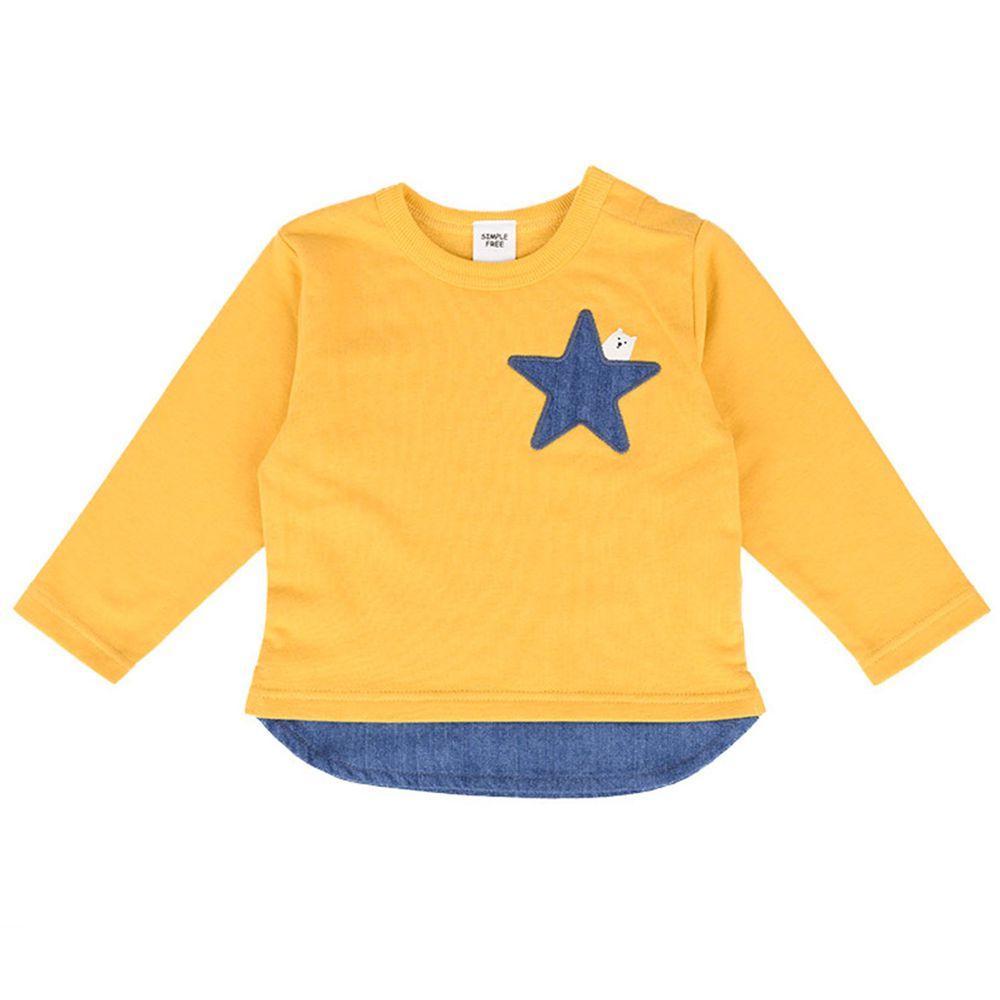 akachan honpo - 長袖假兩件休閒上衣-黃色