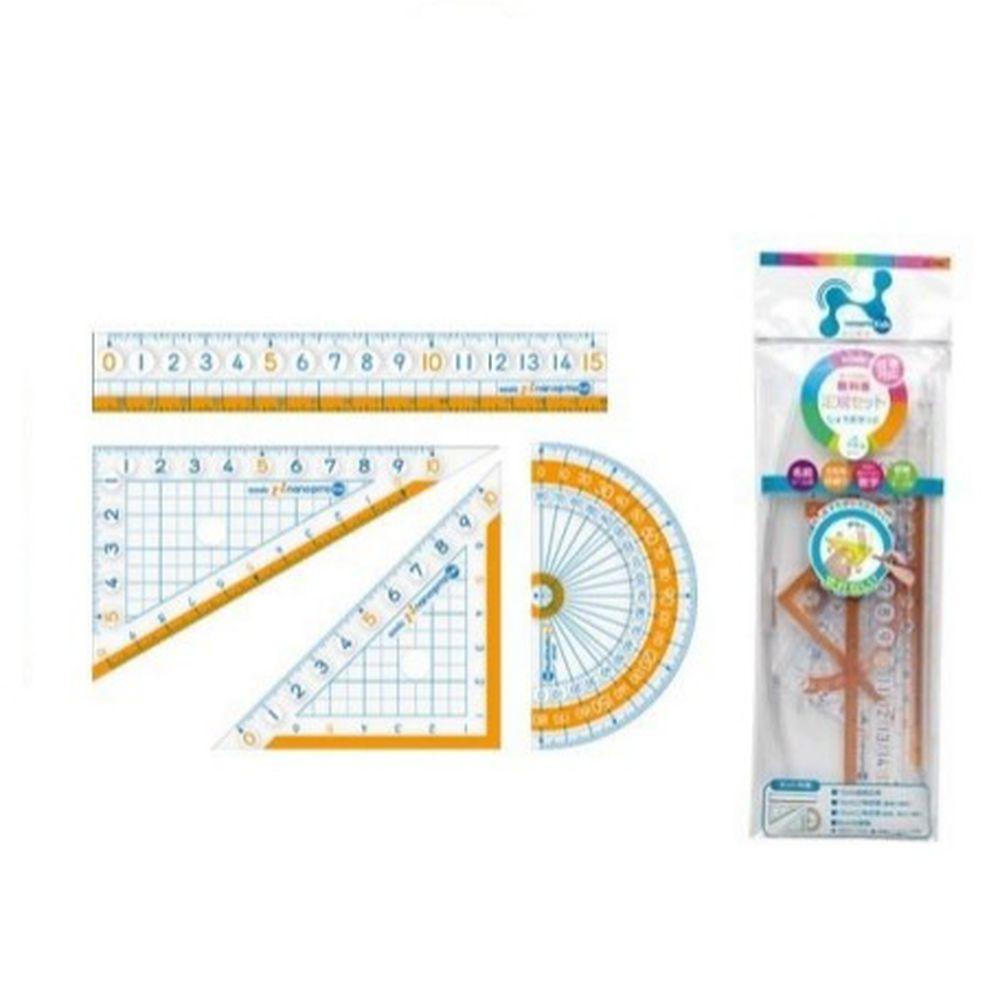 日本文具 SONIC - 學童用大數字尺規 4 件組-尺+三角板*2+量角器