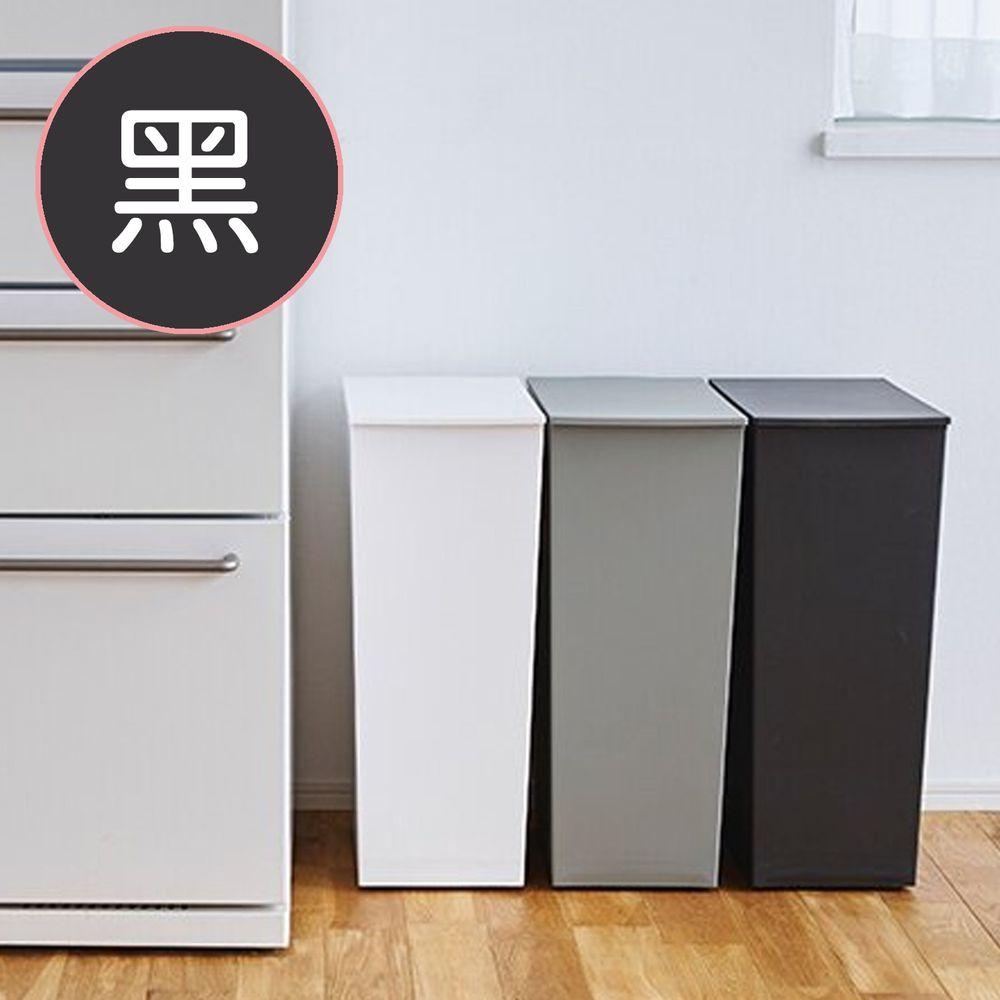 日本岩谷Iwatani - 日本製長型可分類掀蓋式垃圾桶(附輪)-36L-黑