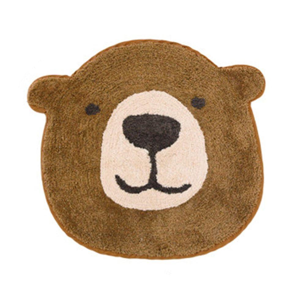 日本 TOMO - 可愛動物大頭地墊/腳踏墊-熊熊-咖啡 (S(約40x45cm))