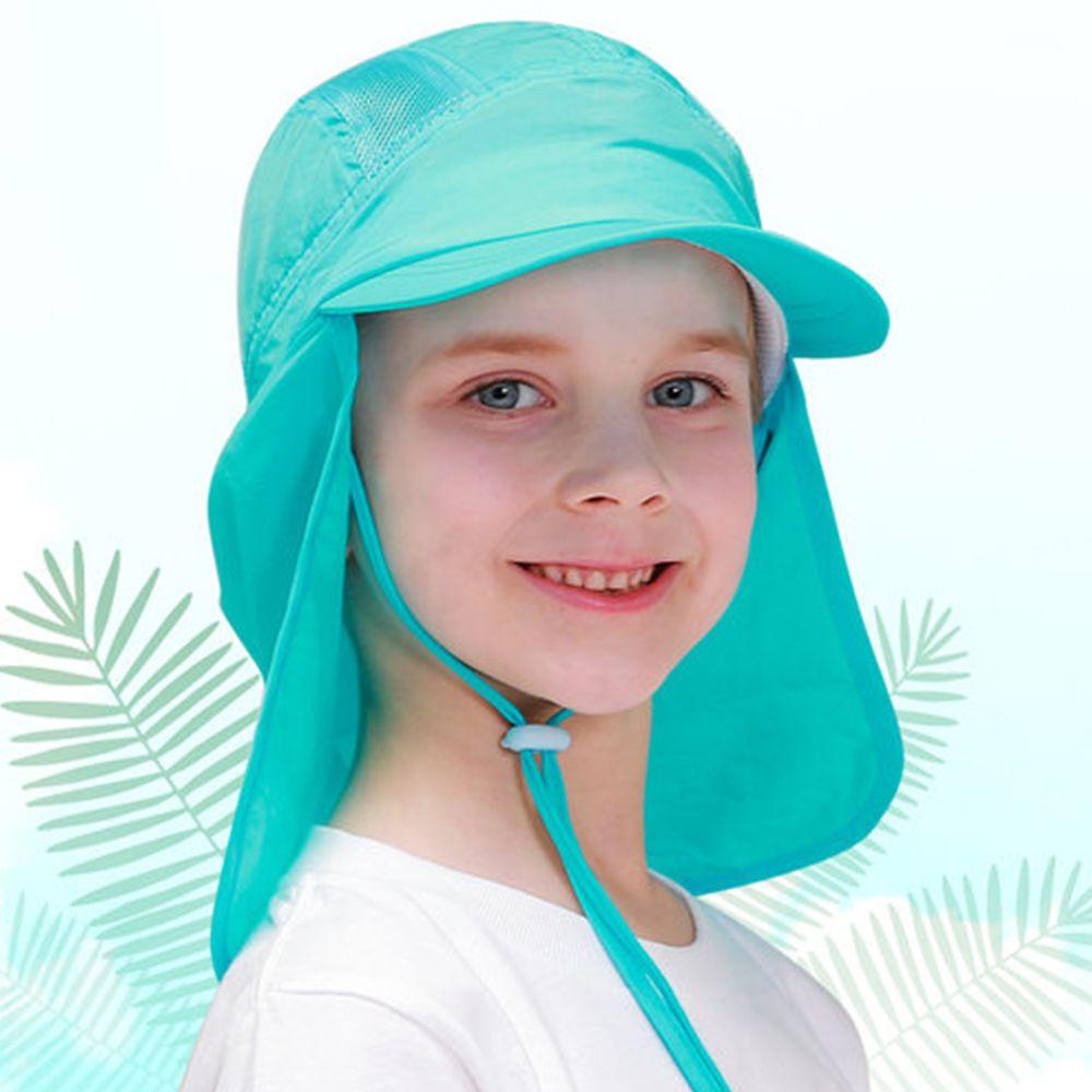 韓國 Beach Boom - 韓製UPF50+防水透氣遮脖玩水帽-藍