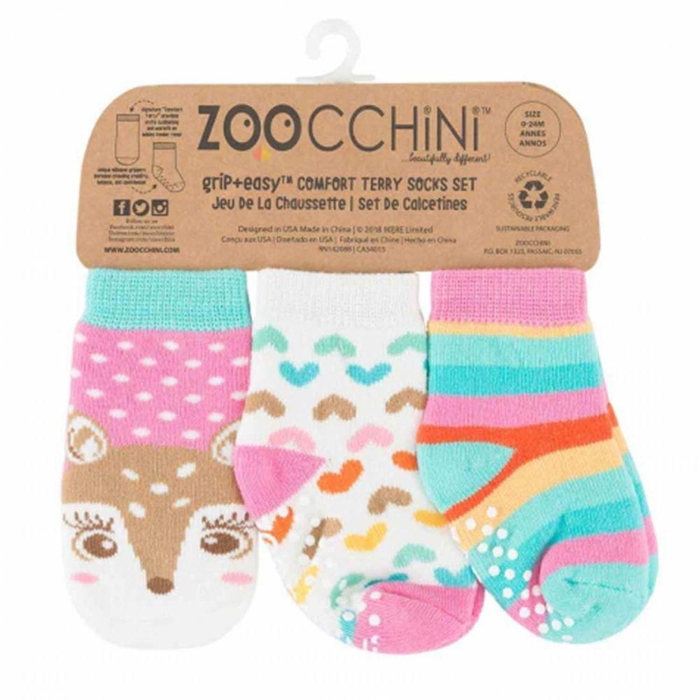 美國 ZOOCCHINI - 襪子三件組-小鹿 (0-24m)
