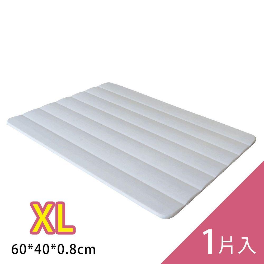森呼吸 - 台灣製波浪人體工學珪藻土吸水地墊/ 1入組-白 (XL)-60x40x0.8cm