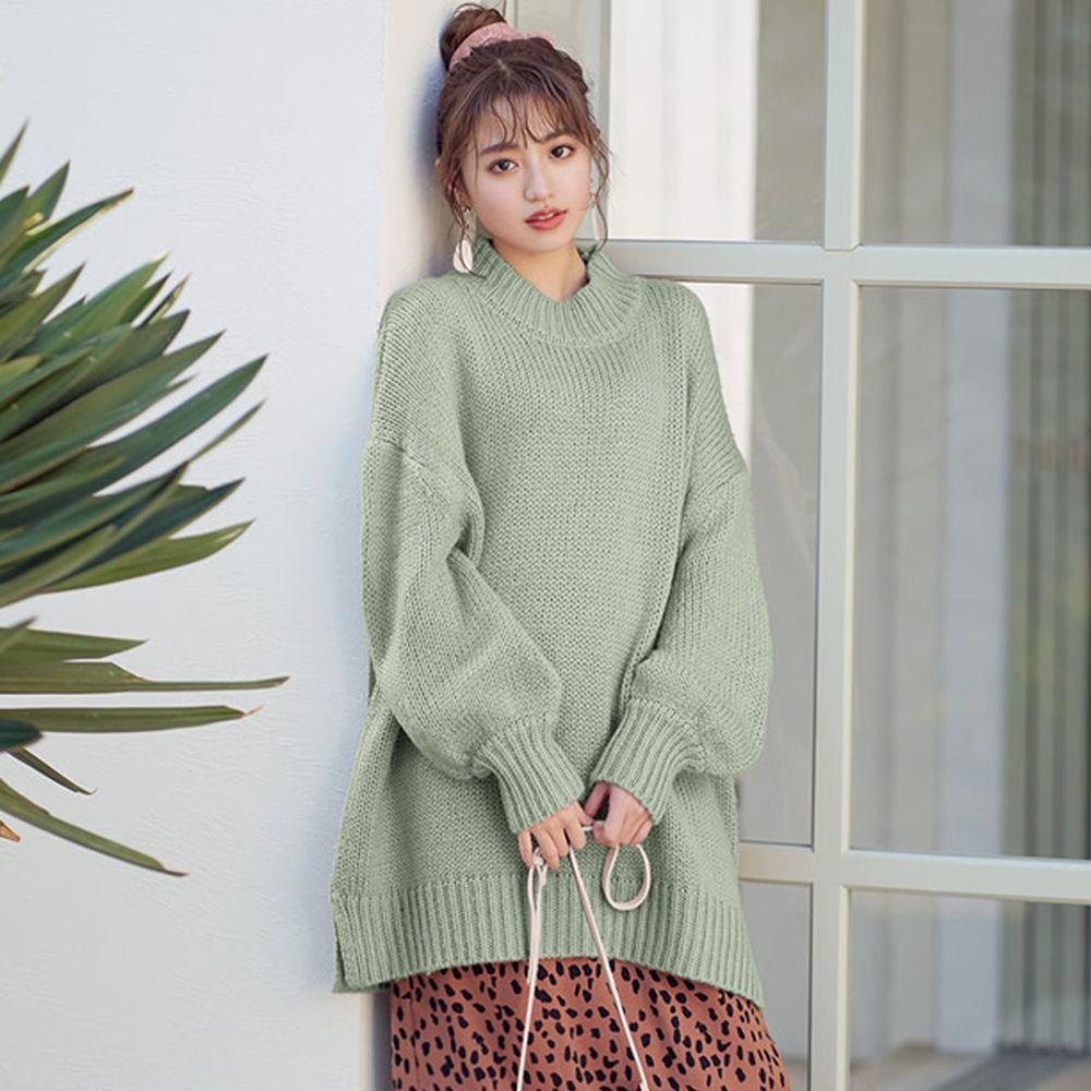 日本 GRL - 超長版美背挖空針織毛衣-蘋果綠