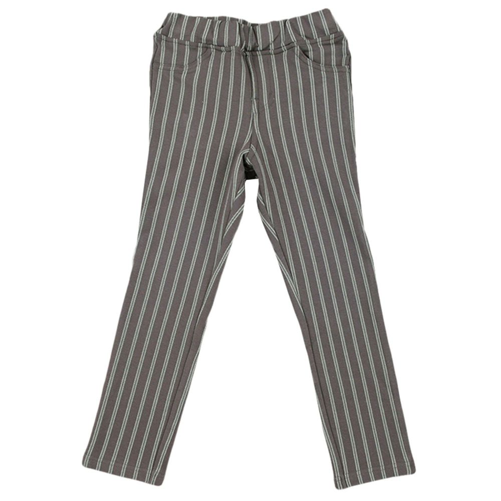 akachan honpo - 10分彈性褲-直條紋-灰色
