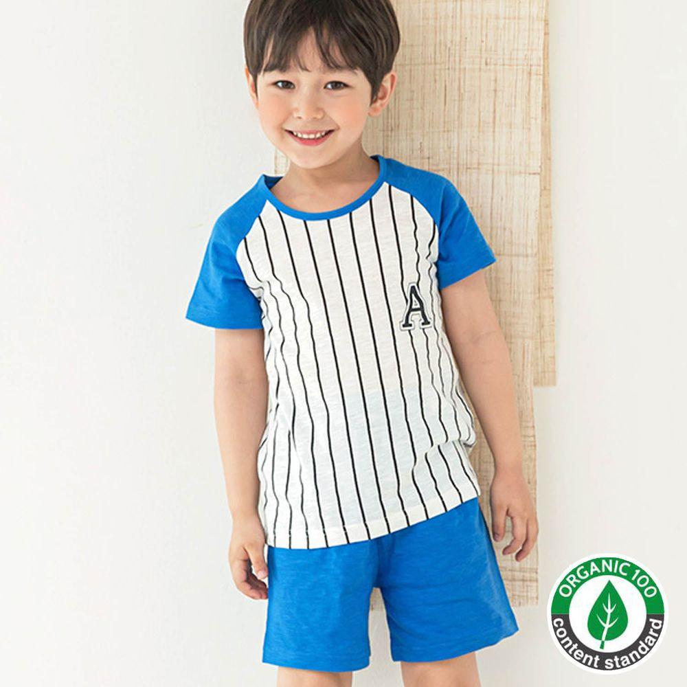 韓國 Maykids - 有機棉細柔短袖袖家居服-藍色棒球服