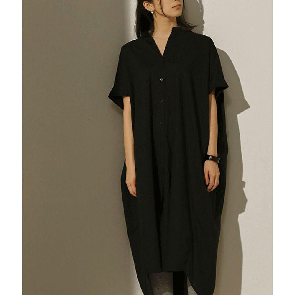 日本 Bou Jeloud - 後抓皺設計前短後長短袖襯衫洋裝-黑