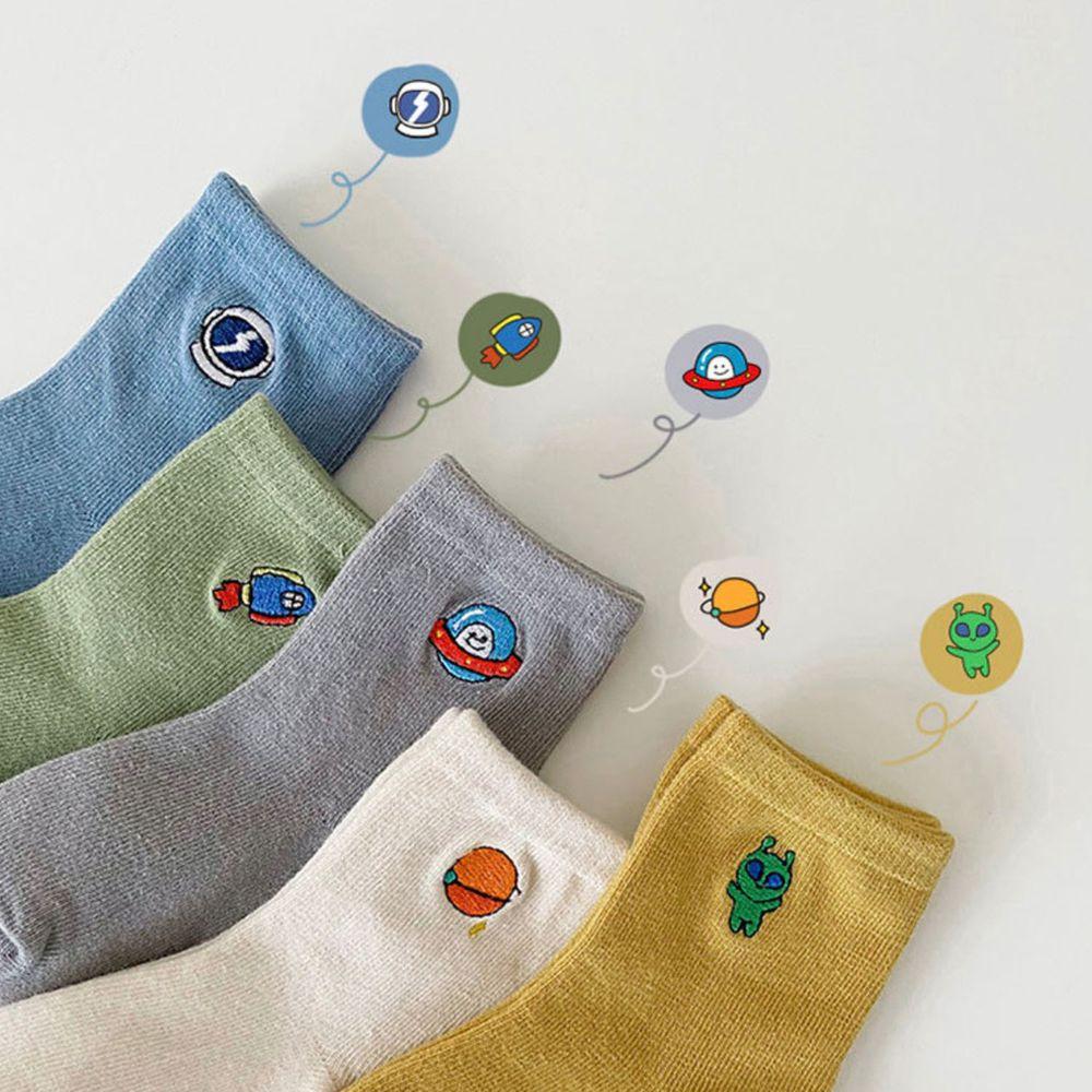純色太空星球刺繡短筒襪 (5雙一組)