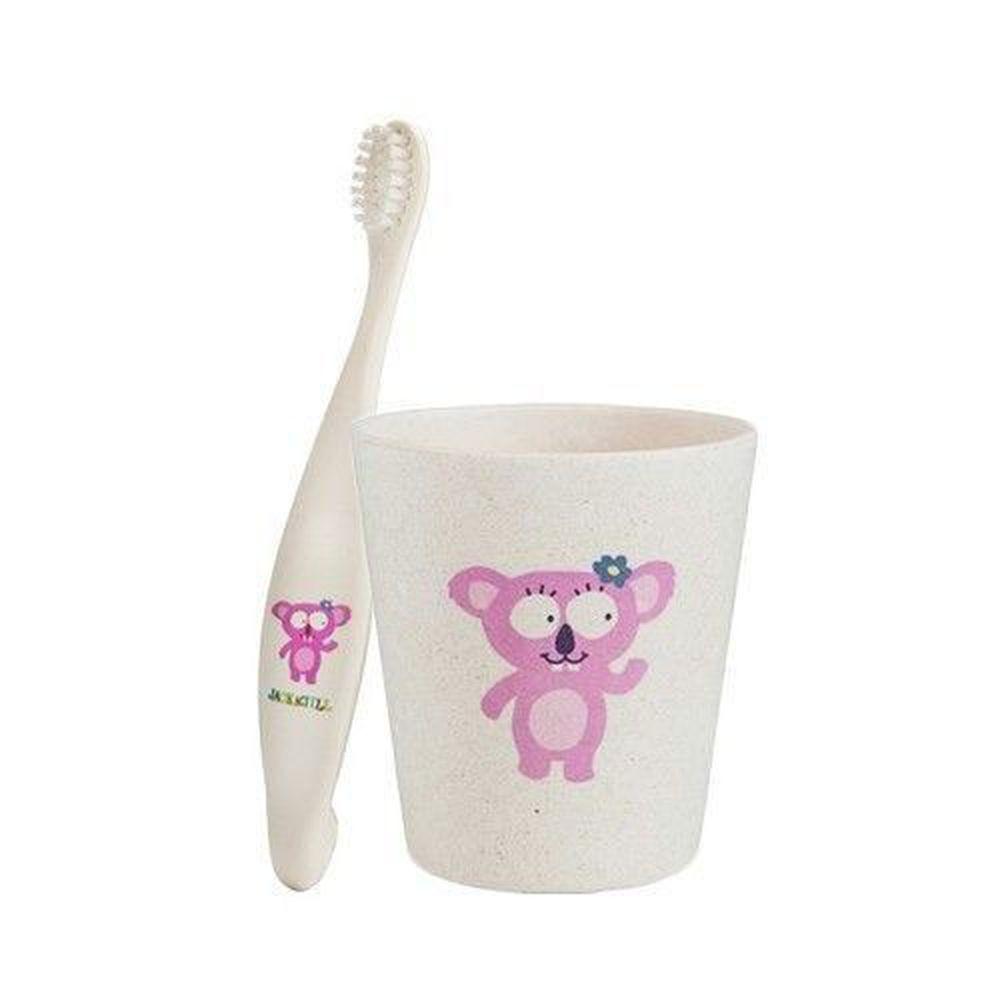 澳洲 Jack N' Jill - 無尾熊刷牙組-植物牙刷x1+漱口杯x1