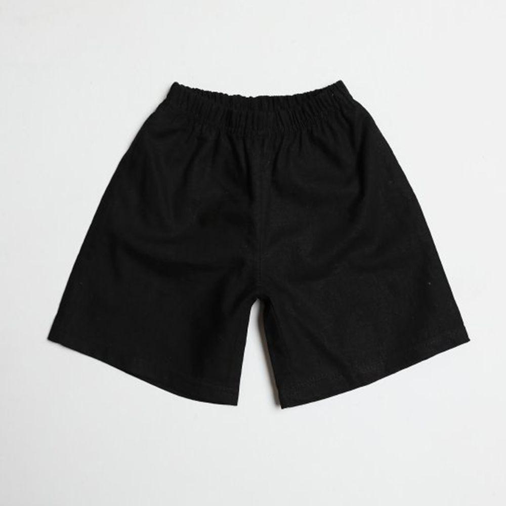 韓國製 - 棉麻寬版7分褲-黑